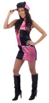 Карнавален костюм Диско на квадрати розови и черни.