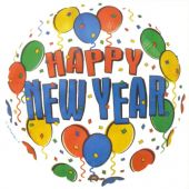 "Балон с надпис Happy New Year! 18"" - 46см.- с балони."