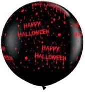 "Балон - Гигант Черен оникс с ""кървав"" надпис Happy Halloween  92 см."