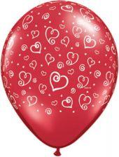 Балони със сърца  - асорти 11'' (28см.)