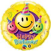 """Балон с надпис Happy Birthday и усмихнати личица 18"""" - 46см."""