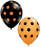 Балони с Точки  черни и оранжеви  11'' (28см.) Хелоуин