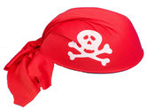 Шапка имитация на Пиратска кърпа  с череп и кости - червена
