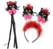 Комплект с черни котки: диадема и пръчка