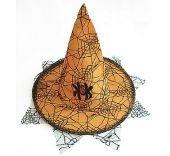 Оранжева вещерска шапка с паяк и дантела - малък размер