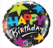 """Фолиен балон с надпис Happy Birthday и звезди 18""""- 45 см."""