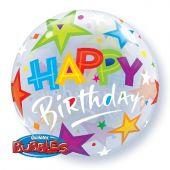 "Балон със звезди и надпис Happy Birthday 22""- 56 см"