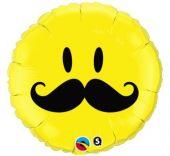 "Балон  Усмихнато лице с Мустаци 18""- 45 см."