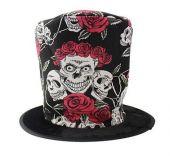 Цилиндър - шапка за Halloween с черепи.