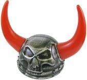 Шлем  Викинг със светещи рога - червени
