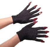 Черни Дяволски ръкавици с червени нокти