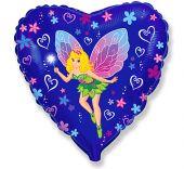 """Сърце фолиен балон с Tinkerbelle Тинкърбел  18""""- 45 см."""