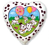 "Сърце - бяло фолиен балон с надпис Happy Birthday и далматинци 18""- 45 см."