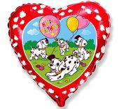 """Сърце - червено фолиен балон с надпис Happy Birthday и далматинци 18""""- 45 см."""