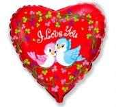 """Сърце фолио с I Love You Пиленца 18""""- 45 см."""