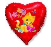 """Сърце фолио с I Love You  Коте 18""""- 45 см."""