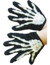 Детски ръкавици на скелет с кости, светещи в тъмното.