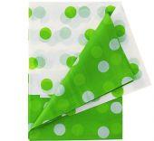 Покривка бяло и зелено на точки