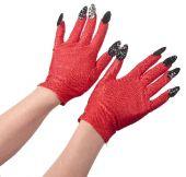 Червени Дяволски ръкавици с черни нокти