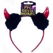 Диадема Дяволски рога с пух