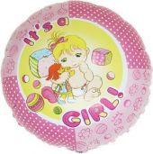 """Балон с надпис Baby Girl / Бебе Момиче 18""""- 45 см."""