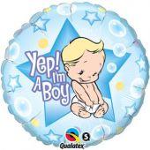 "Балон с надпис ""Yep! I am a boy"" син - 18""- 46 см."