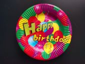 Картонена чиния с Happy Birthday и балони 10бр, 18.5см