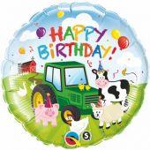 """Балон с животни, трактор и надпис Happy Birthday  18""""- 45 см."""